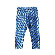 Baby Girl Mermaid Fish Scale Pants Toddler Girls Blue Leggings Trousers Infant Kids Girls Autumn/Spring/Winter Cotton Bottoms(China)