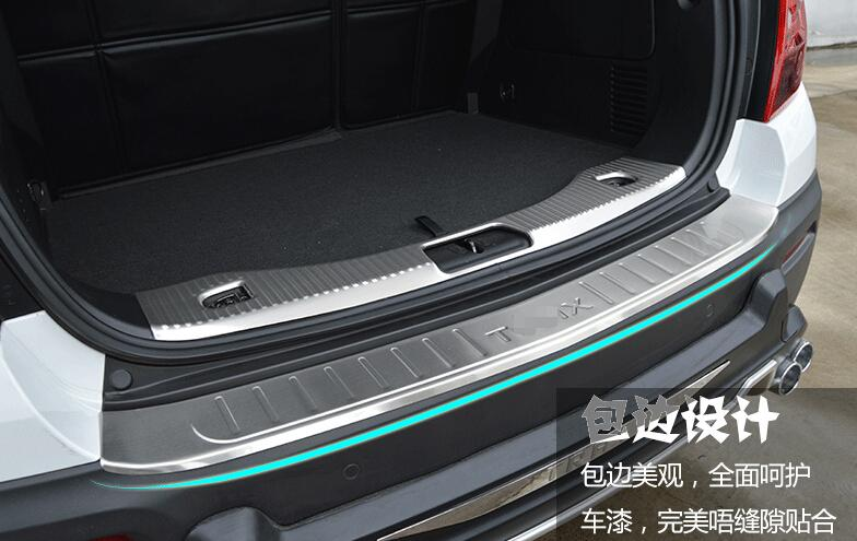 For Chevrolet TRAX 2014 2015 Stainless Steel Inner and Outer Rear Bumper Protector Sill Plate 2 pcs / set stainless steel rear outer inner bumper protector door sill plate 2 pcs for ford explorer 2016 2017