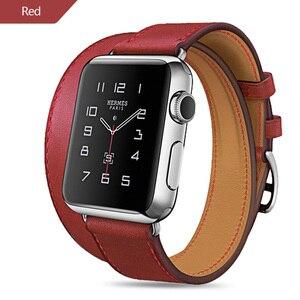Image 3 - ロングソフト革バンド時計iwatchシリーズ6 5 4 3 2 40ミリメートル44ミリメートル38ミリメートル42ミリメートルダブルツアーブレスレットストラップスマートウォッチのための