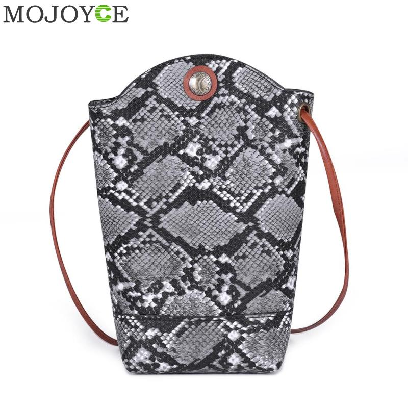 Fashion Ladies Snake Print Shoulder Messenger Packs Casual PU Leather Women Small Crossbody Phone Bags
