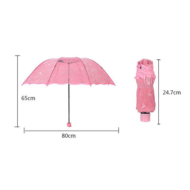Transparent Folding Umbrella For Women Sunny and Rainy Princess Lace Wedding Windproof Rainproof Umbrellas White in Umbrellas from Home Garden