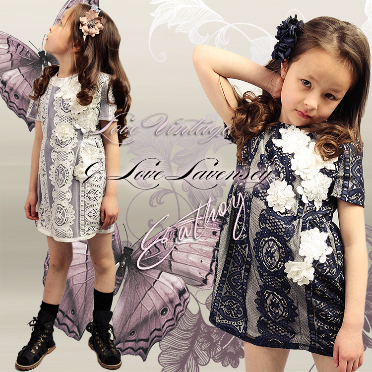 ФОТО Lavensey Comfortable Cotton Dress Girl Lace Round Neck  roupas infantis menina Short Sleeve Girls Clothes Spring Girls Dress