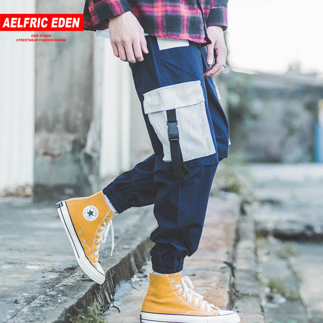 Aelfric Eden 2019 Multi-pockets Stitched Hip Hop Harajuku Cargo Pants Patchwork Casual Cosy Sweatpants Full Length Streetwear Crease-Resistance