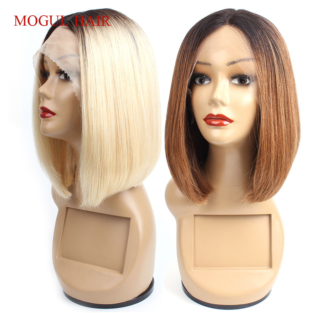 Mogul Hair 1B 613 Blonde T Part Lace Front Human Hair Wigs Ombre 1B 30 Short Bob Style Indian Straight Non Remy Hair Middle Part