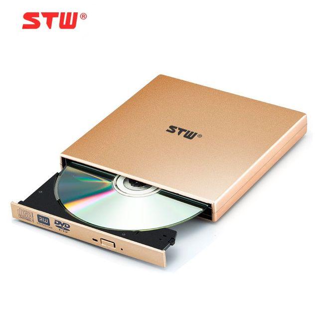 Stw unidade óptica externa externa notebook computador desktop comum ouro usb cd-rom drive gravador de dvd móvel