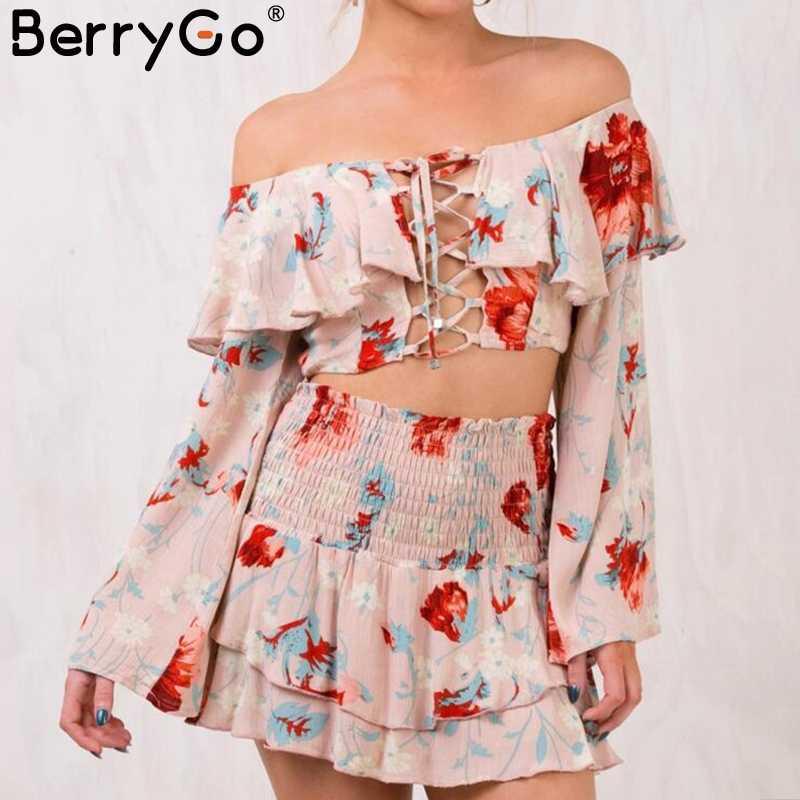 BerryGo сексуальные с открытыми плечами и принтом boho короткое платье с расклешенными рукавами на шнуровке двухсекционное платье женские ярусные оборки летнее платье женские