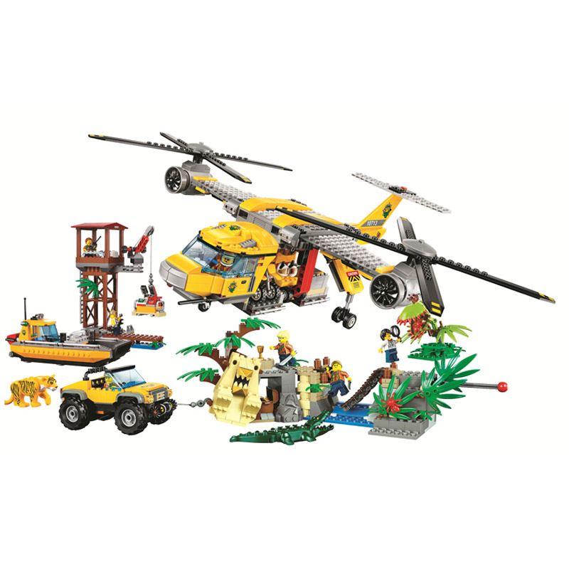 10713 City Explorers Jungle Air Drop Helicopter Model Building Blocks Enlighten Action Figure Toys For Children Compatible Legoe 10639 bela city explorers volcano crawler model building blocks classic enlighten diy figure toys for children compatible legoe