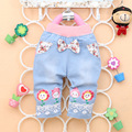 Free shipping 2016 summer new  baby girls denim short  pants  Print with sunflower baby  cropped pants A282