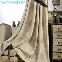 New Design High Blackout Jacquard Curtain Drape For Bedroom Living Room Window Curtain Thick Floral Fabric Curtain