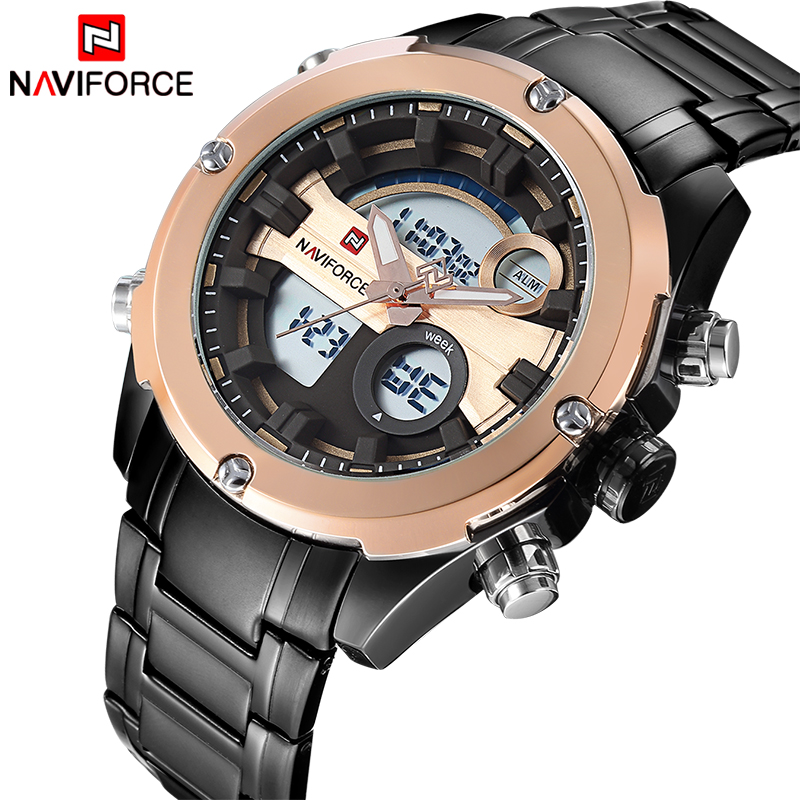 2017 NEW FASHION Luxury Brand NAVIFORCE Men Sports Watches Men's Quartz Analog Clock Male Military Waterproof Full Steel Watch weide new men quartz casual watch army military sports watch waterproof back light men watches alarm clock multiple time zone