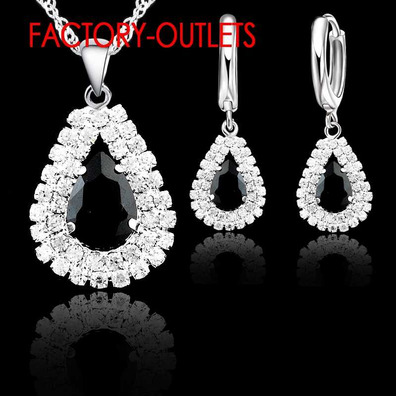 Hot Sale 925 Sterling Silver Bridal Jewelry Sets Austrian Crystal Water Drop Necklaces Hoop Earrings Women Party Engagement