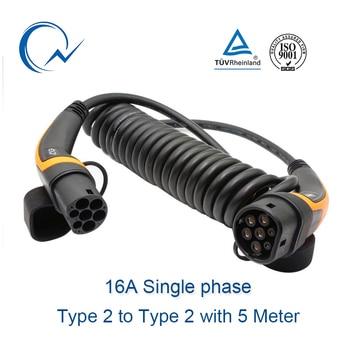 16A EV Cable Type 2 to Type 2 IEC 62196-2  single phase EV Charging Plug With 5 Meter spring cable 3.6KW EV charging Mennekes зарядное устройство ev peak ev v6ac