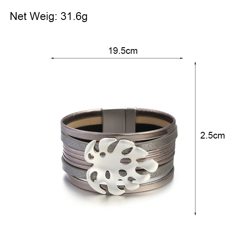 ALLYES Leather Bracelets for Women 2019 Individual Hollow Metal Leaf Charm Bohemian Wide Multilayer Wrap Bracelet Female Jewelry in Wrap Bracelets from Jewelry Accessories