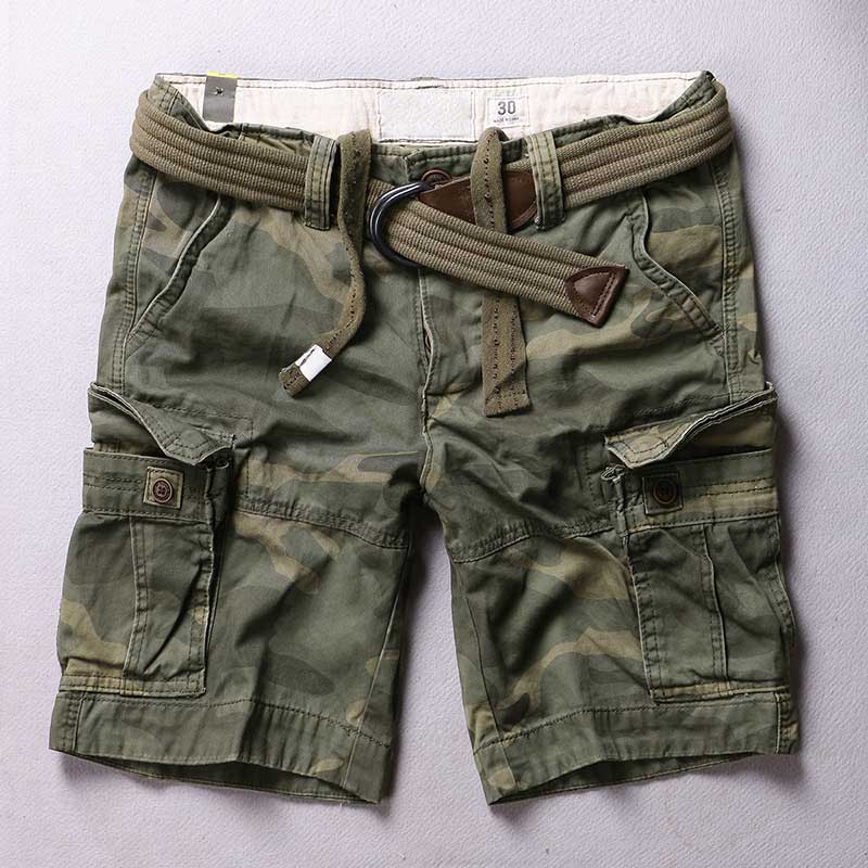 Trendy Mens Camouflage Shorts Premium Cargo Shorts Casual Military Style Multi Pockets Shorts Big Size Man Clothing Summer Wear