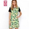 ГИДРАВЛИКА Высокое качество 2016 Девушки Птица Оставляет Рукава Назад Молния Свободные Красочные коротким рукавом платье женская Повседневная одежда