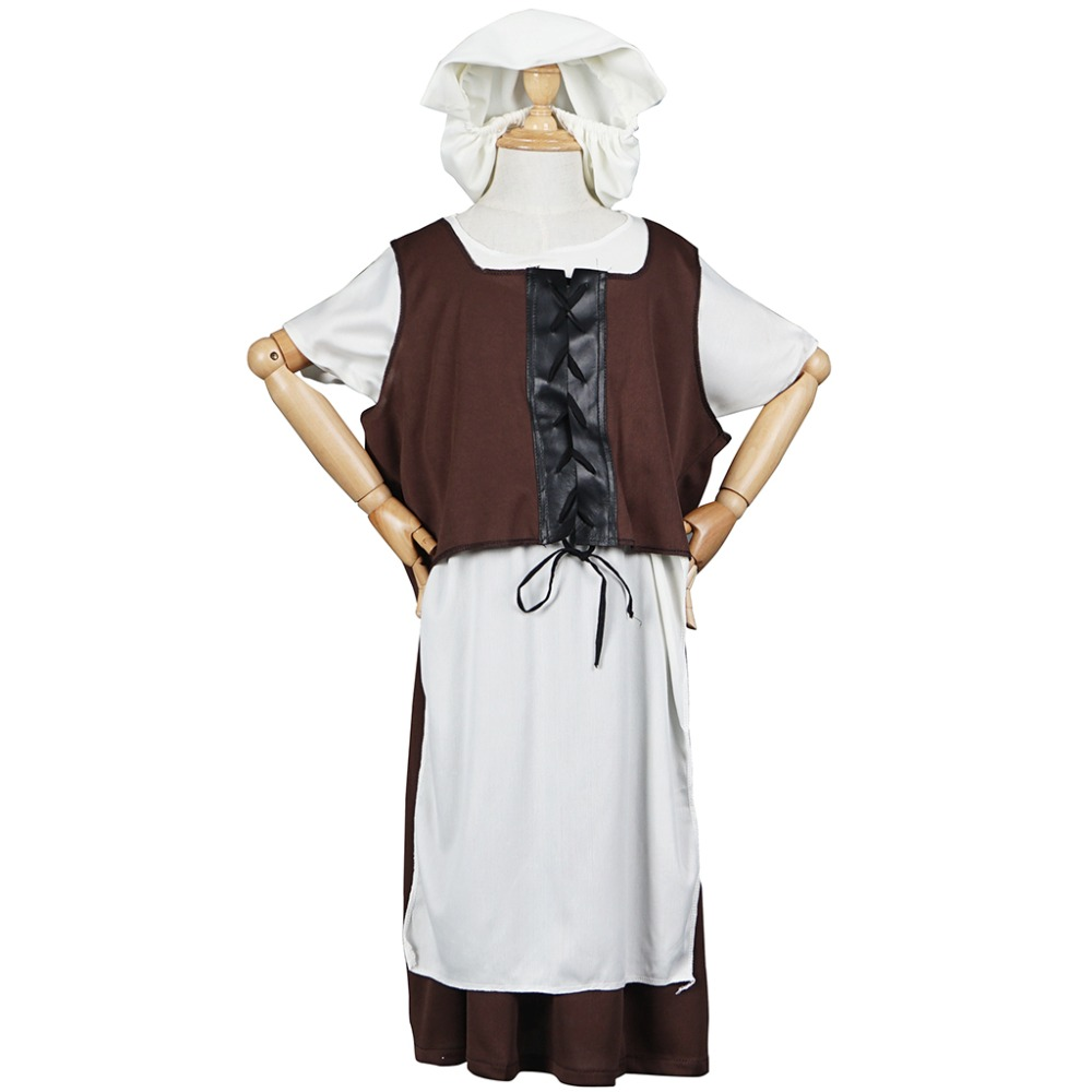 Maid Costume Dress Up Victoria Tudor Poor Girls Dress Kids Children Medieval Fancy Dress Outfit for Halloween Party Carnival