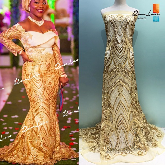 2018 Latest Style Sequined Mesh Tulle Lace Fabric Nigerian African Women  Wedding Garment Sewing Material Special a266c188c83e
