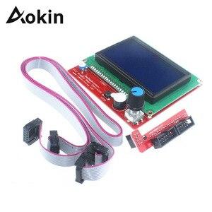 Image 1 - LCD 12864 تحكم طابعة ثلاثية الأبعاد ramps 1.4 تحكم LCD12864 شاشة عرض اللوحة الأم الأزرق وحدة التحكم الذكي ramps