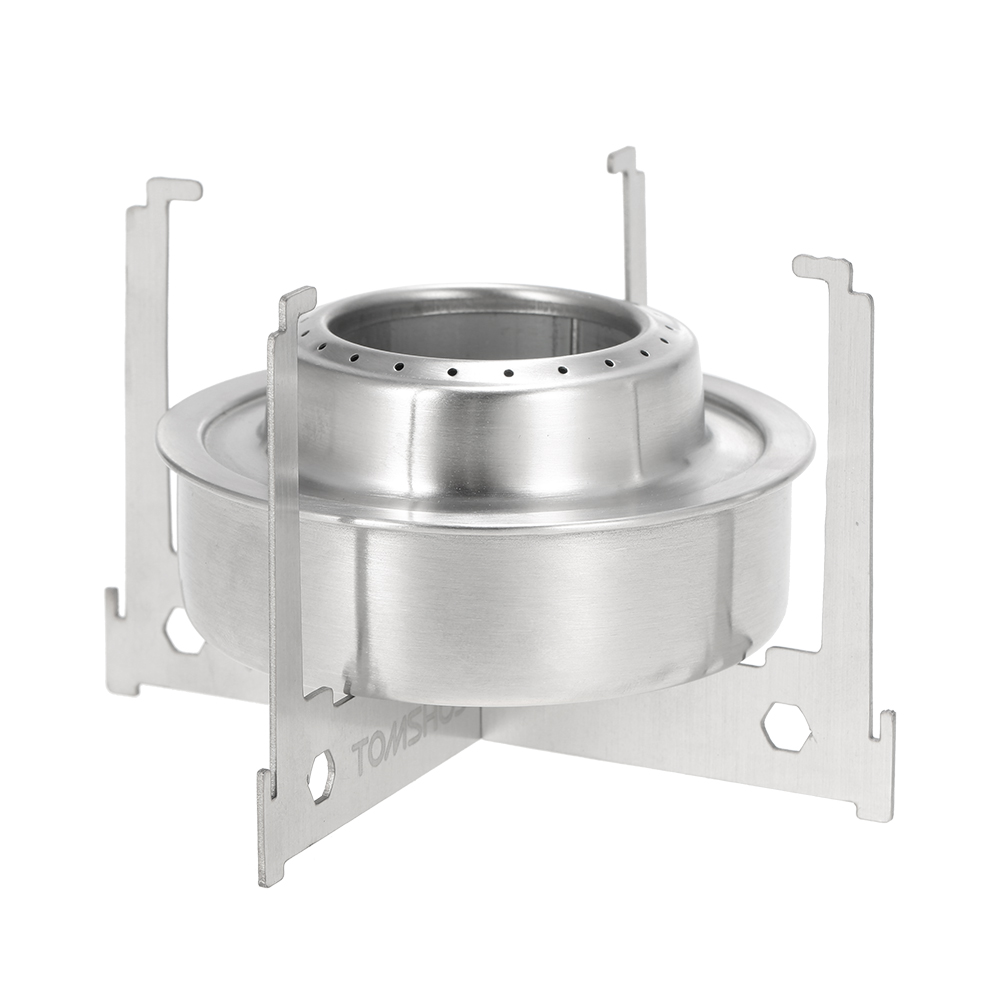 Portable Alcohol Stove Ourdoor Folding Camping Hiking Stove Furnace with Tray Pot Stand Ultralight Stainless Steel Pocket Stove