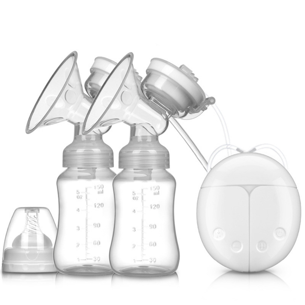 Double Electric breast pumps Powerful Nipple Suction USB Electric Breast Pump with baby milk bottle Cold Heat Pad Nippl brand cold heat pad double breast pumps with milk bottle electric powerful nipple suction usb breast pump mothers breast feeding