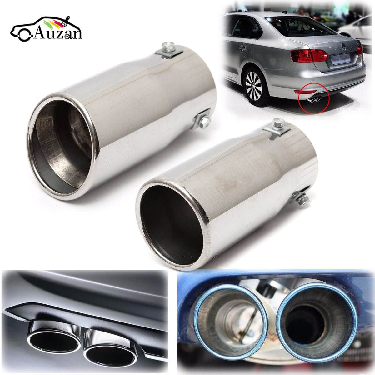 цена на Car Auto Vehicle Chrome Exhaust Pipe Tip Muffler Steel Stainless Trim Tail Tube Car Rear Tail Throat Liner Accessories