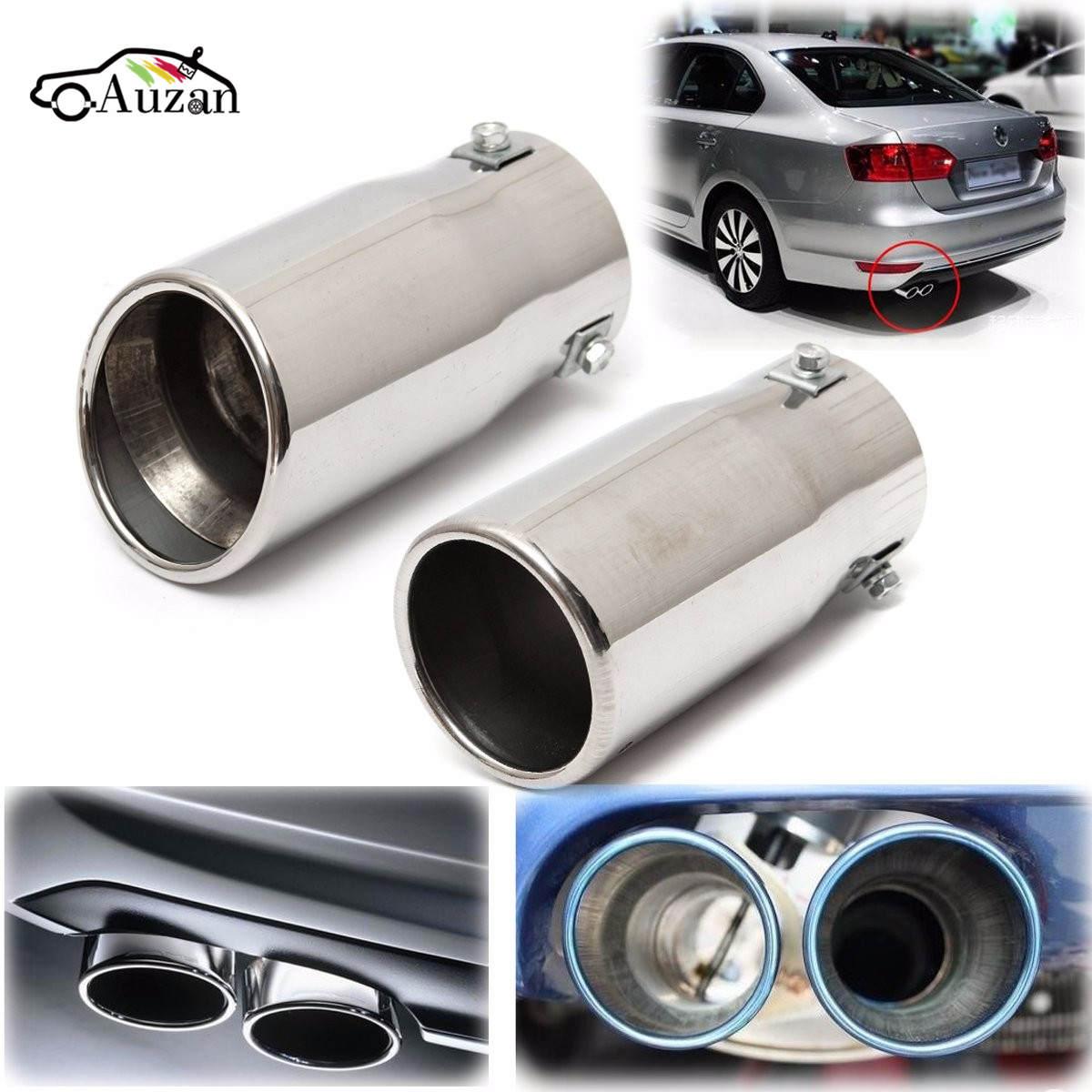 Coche Auto vehículo cromo tubo de escape punta silenciador de acero inoxidable ajuste cola tubo coche revestimiento de cuello de tubo de escape Accesorios