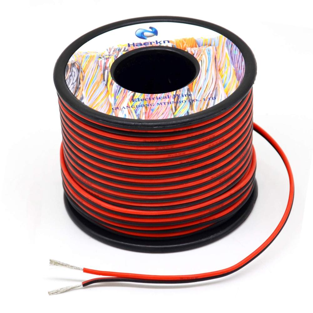 20 awg Silicone Electrical <font><b>Wire</b></font> 2 Conductor Parallel <font><b>Wire</b></font> line 60m [Black 30m Red 30m] Hook Up oxygen Tinned copper image