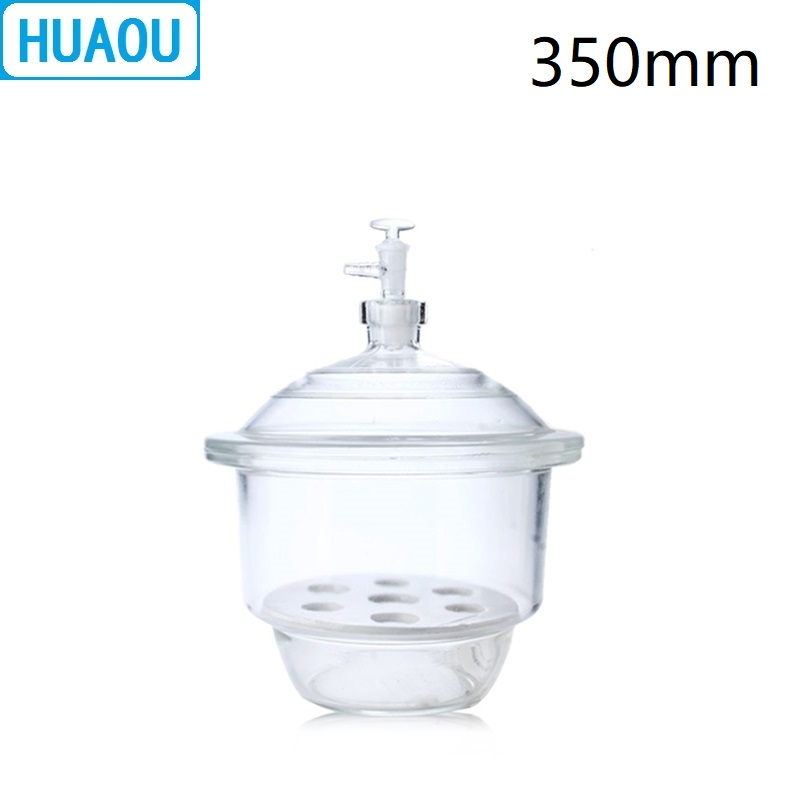 HUAOU 350mm Vacuum Desiccator with Ground - In Stopcock Porcelain Plate Clear Glass Laboratory Drying EquipmentHUAOU 350mm Vacuum Desiccator with Ground - In Stopcock Porcelain Plate Clear Glass Laboratory Drying Equipment