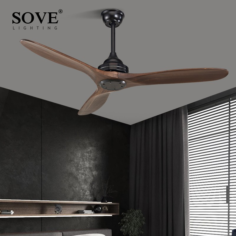 SOVE Black Industrial Vintage Ceiling Fan Wood Without Light Ceiling Fan Kipas Hiasan Remote Control Ventilador De Teto DC 220v