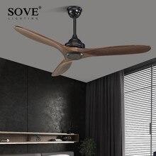 SOVE Black Industrial Vintage Ceiling Fan Wood Without Light Wooden Ceiling Fans Decor Remote Control Ventilador De Teto DC 220v