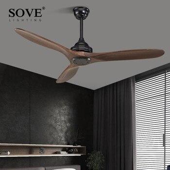 SOVE Zwarte Industriële Vintage Ventilator Hout Zonder Licht Houten Plafond Fans Decor Afstandsbediening Ventilador De Teto DC 220 v