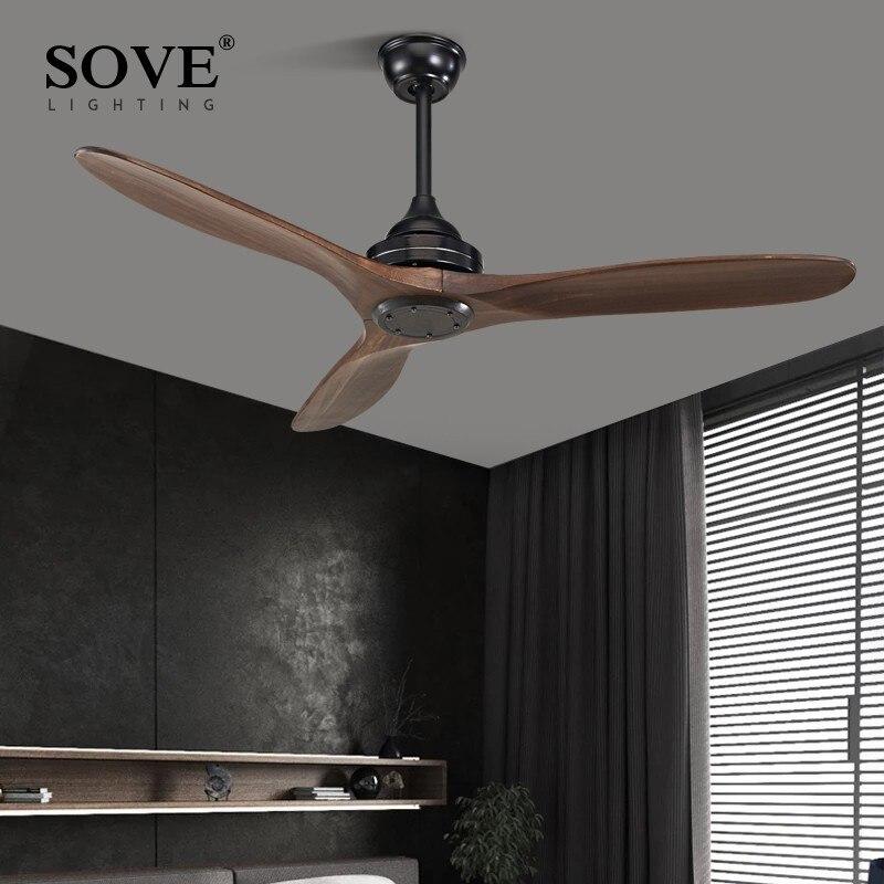 SOVE noir industriel Vintage ventilateur De plafond bois sans lumière en bois ventilateurs De plafond décor télécommande Ventilador De Teto DC 220v