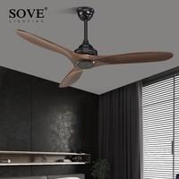 Sove черный промышленные Винтаж потолочный вентилятор дерево без света деревянный Потолочные вентиляторы Декор Дистанционное управление