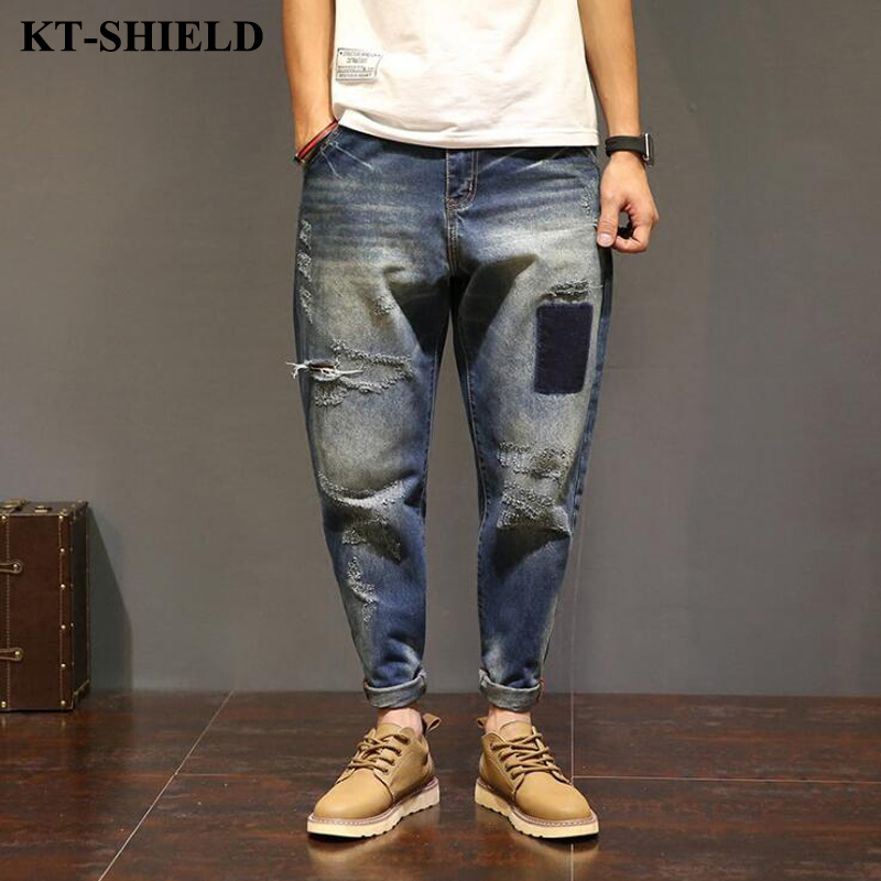 New Style Hip hop Mens Jeans Casual Motorcycle Denim Biker Jeans Designer Clothing Ripped Distressed Jeans
