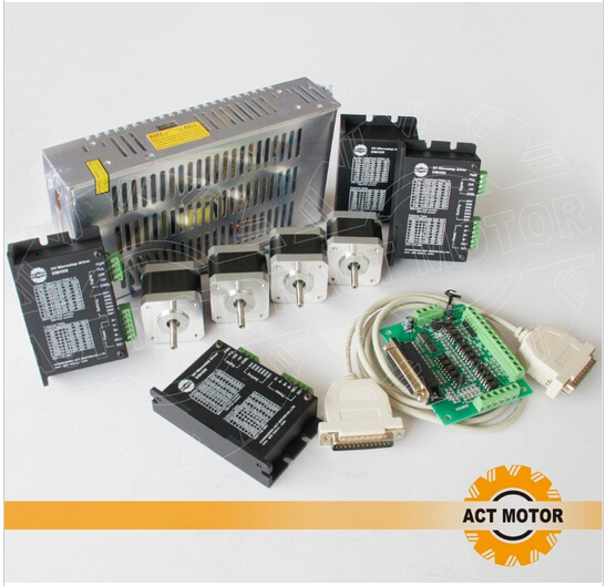 Hot sales ACT Nema17 Stepper Motor 56oz in 4Axis CNC & Driver with 1.7A Peak current, 128 Microstep Mill Control 1