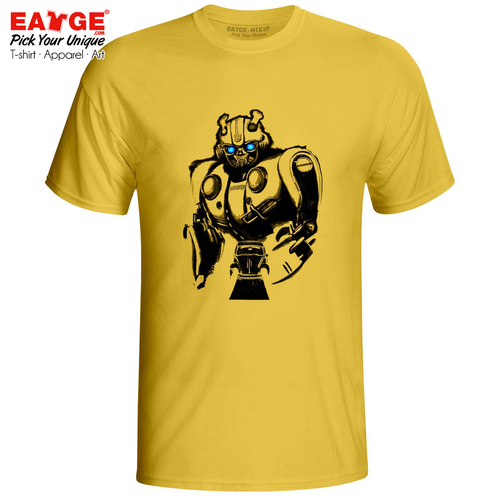 681f3d046 Yellow Robot Bumblebee T Shirt Movie Manga Awesome Novelty Rock Fashion T-shirt  Active Design