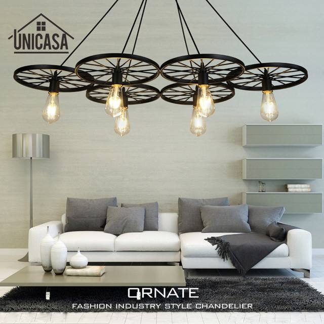 Large Pendant Lights Wrought Iron Lighting Office Bar Hotel Kitchen Island Black Light Antique