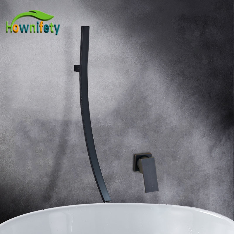 Hownifety Chrome ORB Brushed Nicekl Bathroom faucet 70cm length Bathtub hot and Cold mixer Crane Wall