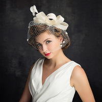 Korean Vintage lace yarn feather hat bride Amazon eBay Dunhuang aliexpress supply accessories wholesale
