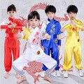 4 cores Novas crianças kung fu dragão Bordado ternos crianças conjuntos de roupas desempenho uniformes tai chi roupas de artes Marciais