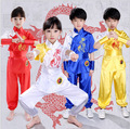4colors New kids kung fu Embroidery dragon suits children Martial arts performance clothes uniforms tai chi clothing sets