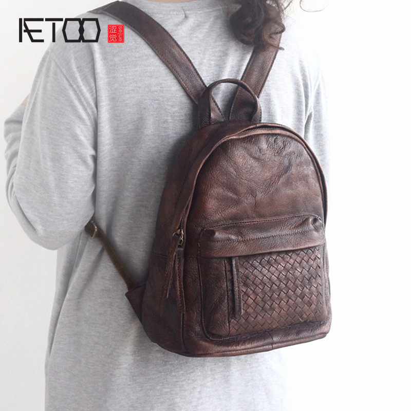 AETOO Spring and summer new leather handmade handmade first layer of planted tanned leather retro bag backpack bag aetoo spring and summer the new first layer of vegetable tanning backpack shoulder bag leather bags cow leather retro color