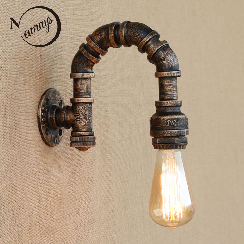 loft iron rust Water pipe retro wall lamp E27 LED sconce wall lights with switch for living room bedroom restaurant bar kitchen цена 2017