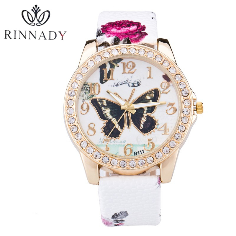 RINNADY New Top Brand Butterfly Genuine Leather montre femme Casual Dress Watch Ladies Wrist Quartz Watch Women Watches Clock 16x 40mm clear diamond crystal glass door knobs drawer cabinet furniture kitchen