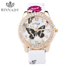 RINNADY New Top Brand Butterfly Genuine Leather montre femme Casual Dress Watch Ladies Wrist Quartz Watch Women Watches Clock