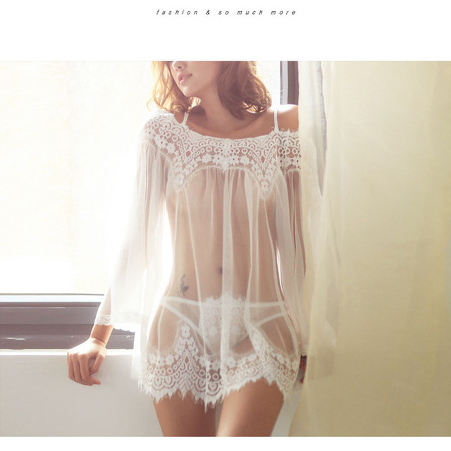 2018 Europe and America Women Set Robes Sexy Sleepwear Nightgown Dress Babydolls 1