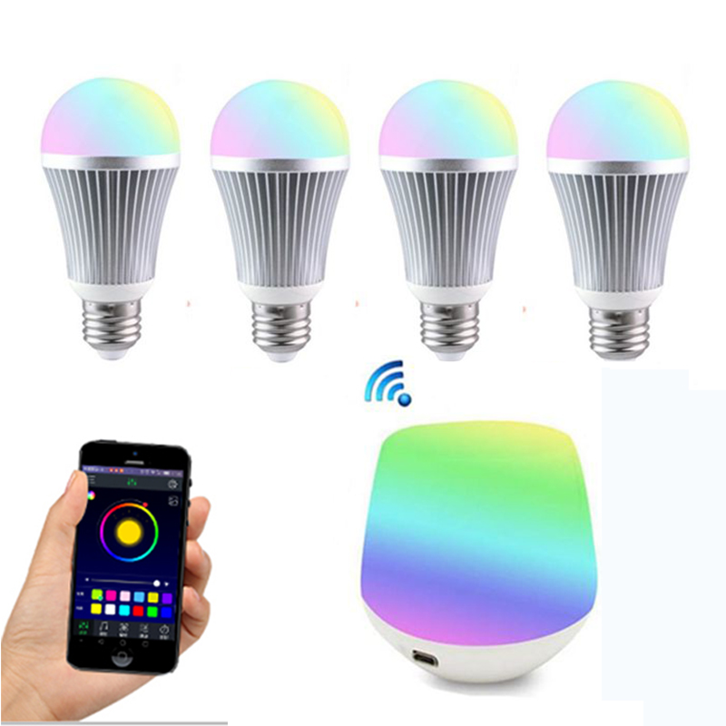 Milight 9W RGBW Lamp 85-265V LED Milight RGB Bulb light and Wireless WiFi ibox For smartphone app android 2 4g wifi android ios app remote control led globe light bulb e27 9w rgb