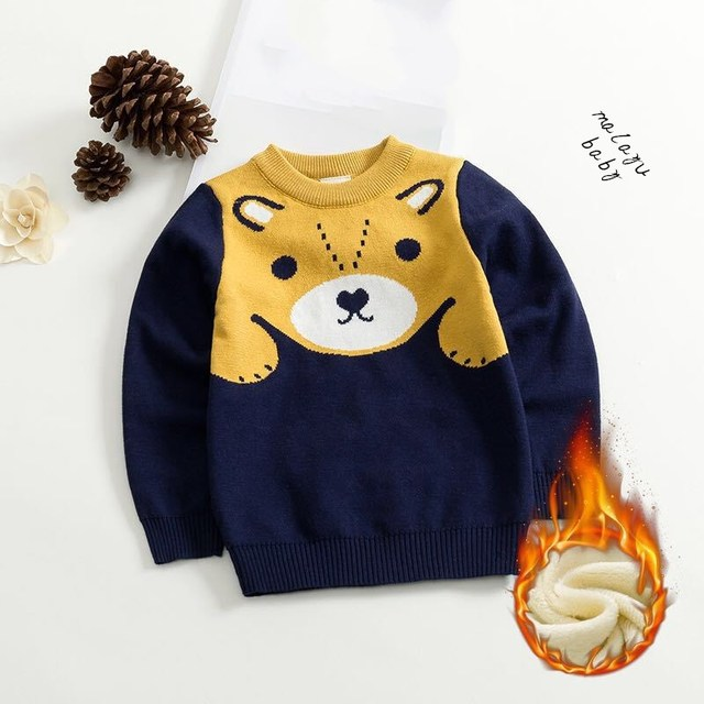 5293601a2 Long Sleeve Boys Winter Sweater Wool Kids Sleeve Cartoon Knit ...
