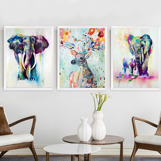 Nordic Elephant Deer Elk Colorful Abstract Ballet Wall Art Paint Wall Decor Canvas Prints Canvas Poster Oil Paintings No Frame