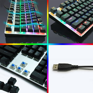 Image 3 - Przewodowy mechaniczna klawiatura gamingowa niebieski czerwony przełącznik 87/104 klawisze Anti efekt zjawy rosyjska/US podświetlany diodami LED LED dla graczy Laptop